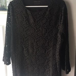 Black lacy blouse with gold sparkle!